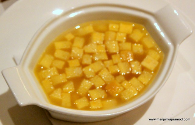 Soft cubes made from eggs and cheese cooked and served in chicken broth.