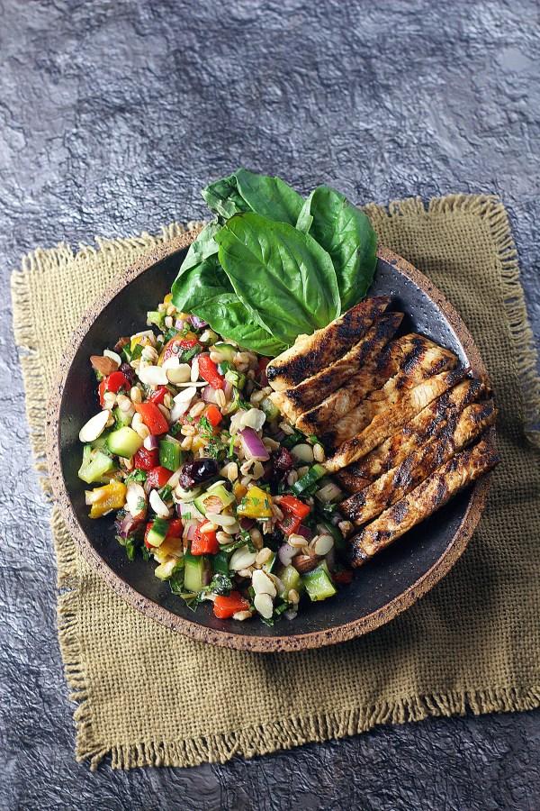 Herb, Farro & Citrus Spring Salad|www.mannaandspice.com