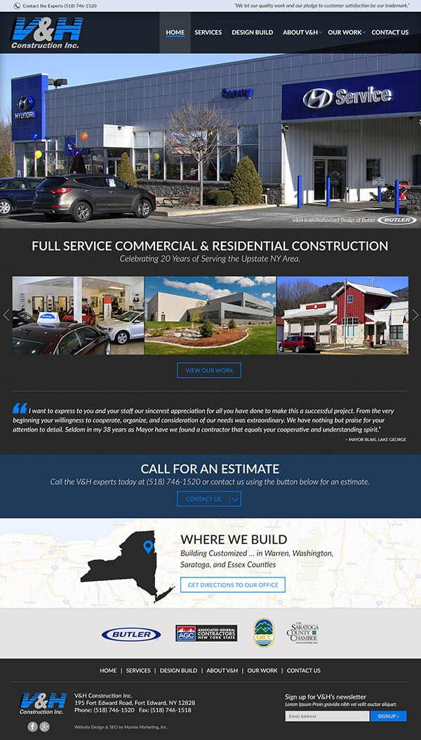 Website Development for VH Construction