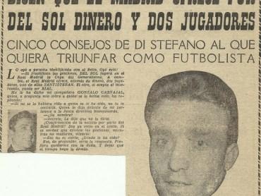 """1960-Enero 20-""""Pueblo"""": """"Es posible que Del Sol  juegue en el Real Madrid"""".-55ºAniversario."""