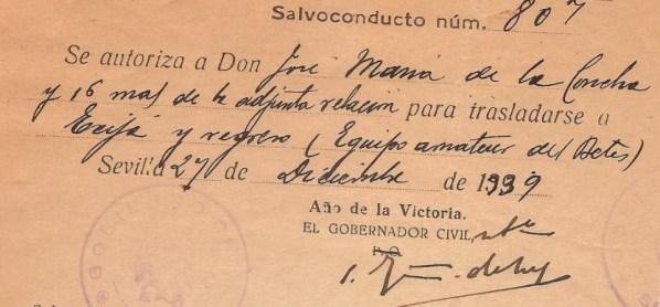 Un salvoconducto para viajar de 1939