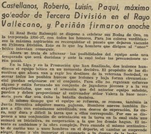 """1956-Julio 12 """"Castellanos-Roberto-Luisín-Paqui-Periñán firmaronxReal Betis""""59Aniversario."""