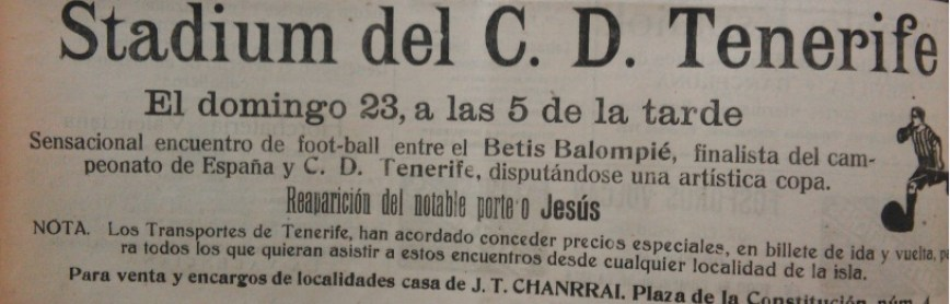 Anuncio Tenerife-Betis 1931