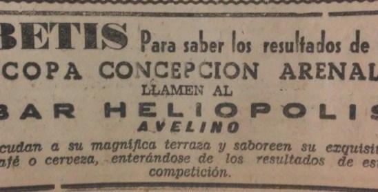 Anuncio Bar Avelino 1958