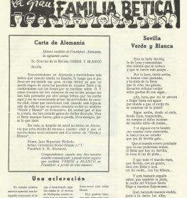 1960-Noviembre.-La Gran Familia Bética.-Sevilla Verde y Blanca.