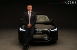 Mr. Joe King, Head, Audi India with the new Audi A6 Matrix. The car has been exceptionally priced at INR 49,50,000 ex-showroom New Delhi and Mumbai