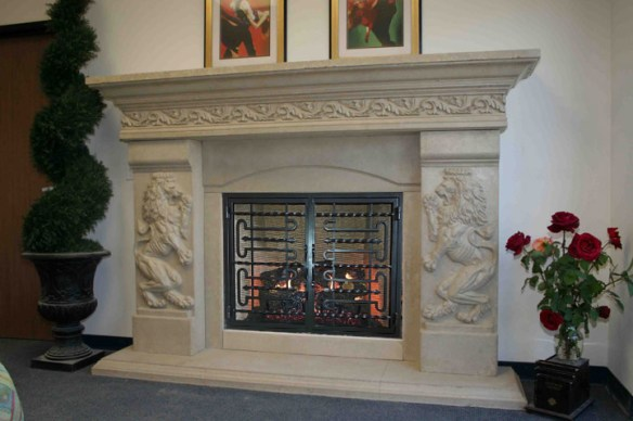 The Lion King Cast Stone Fireplace Mantel