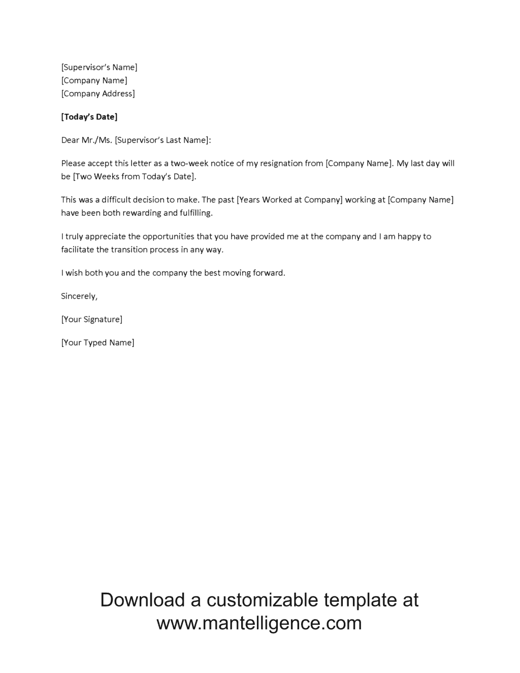 Brief Resignation Letter Other Template Category Page Com Template