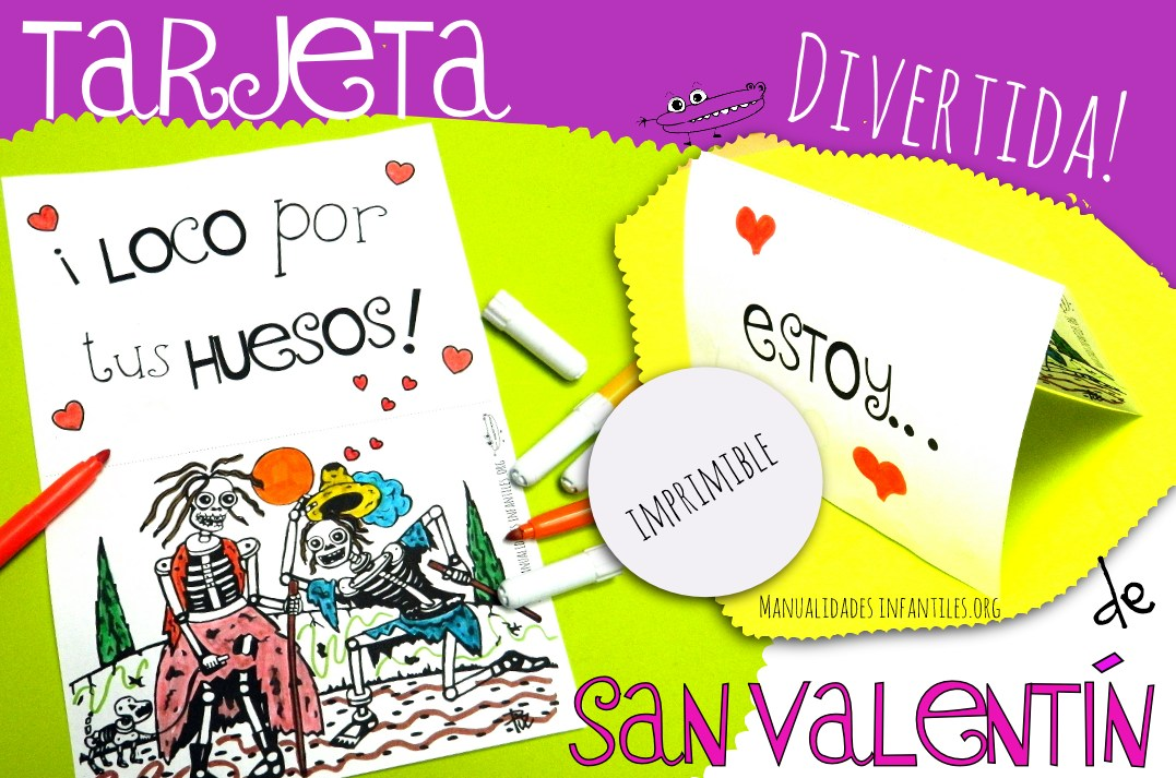 Tarjeta de San Valentín Esqueletos enamorados - Manualidades Infantiles