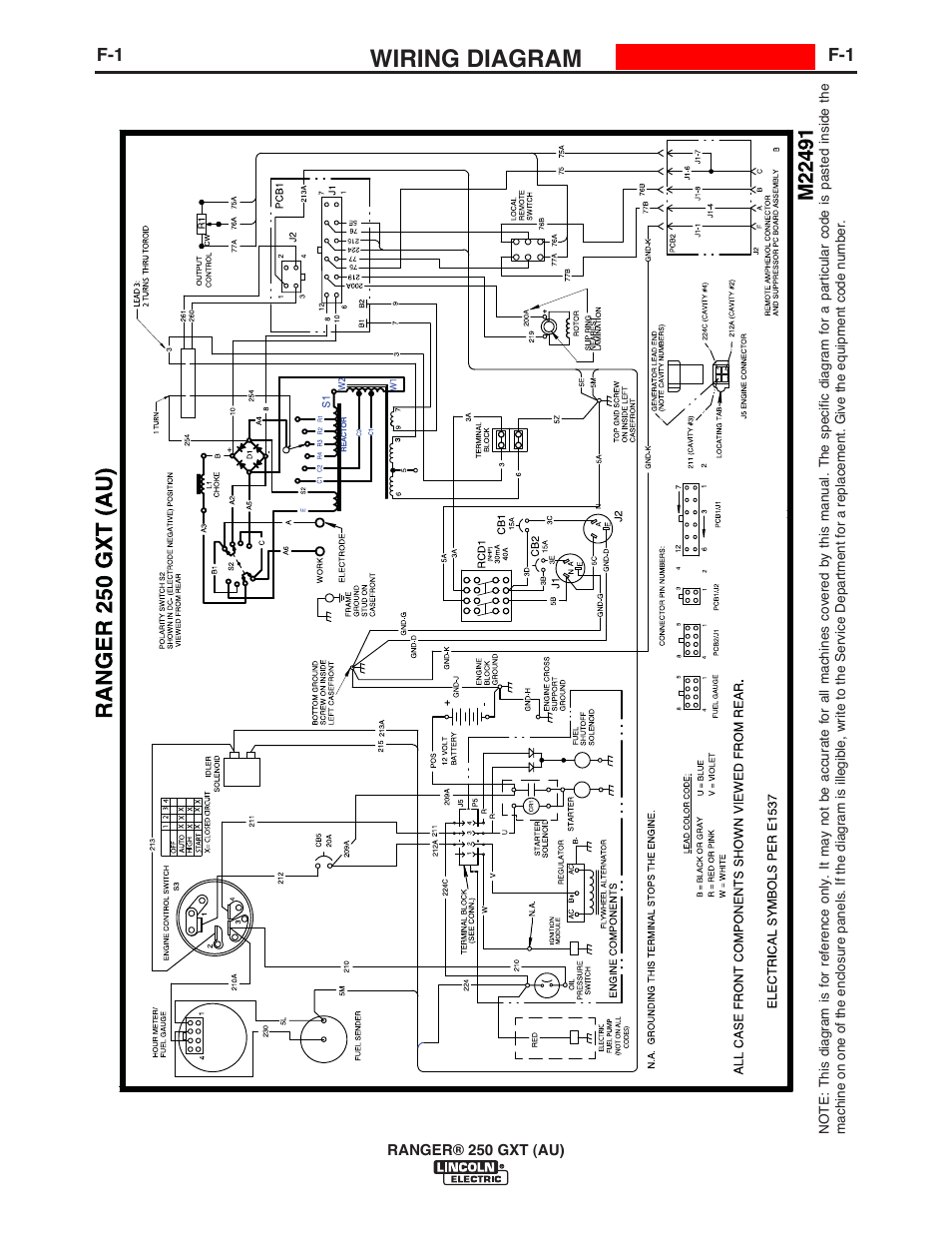 lincoln ranger 250 gxt wiring diagram