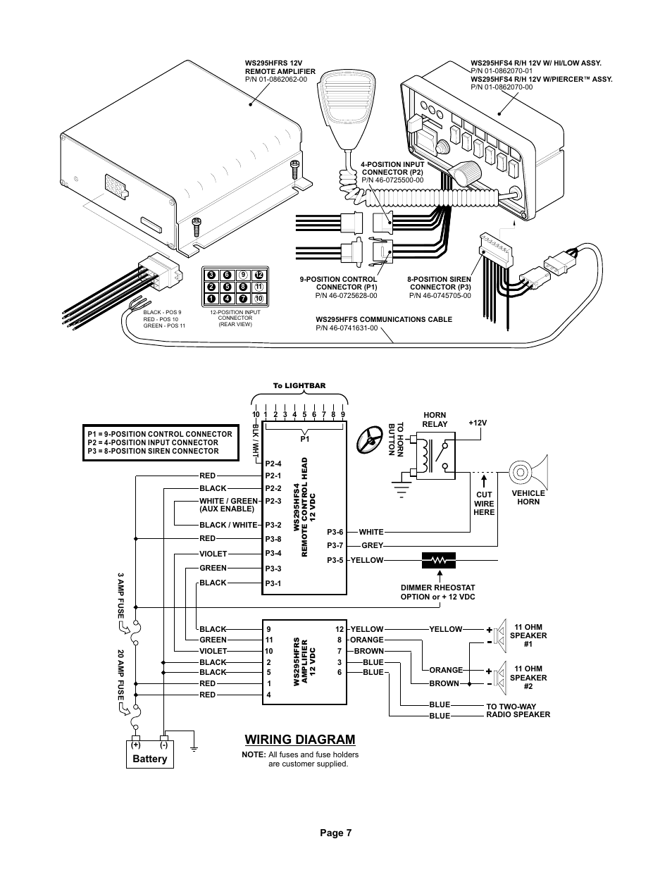 whelen siren wiring diagram model 295sl100