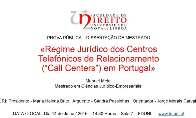 Prova – Dissertação de Mestrado – «Regime Jurídico dos Call Centers»