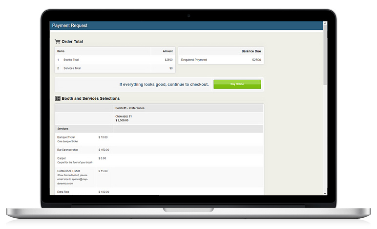 Orders  Invoices for Exhibitor Purchases Map Dynamics - Booth - order invoices online