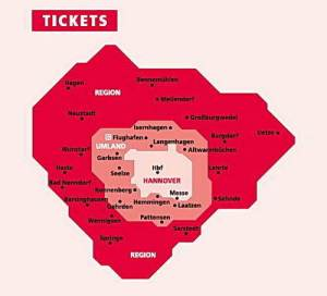 Mapa zonas metro Hannover
