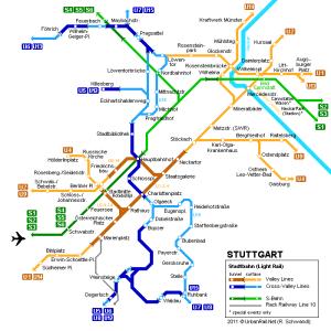 Stuttgart centre metro map