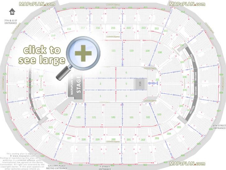 Washington DC Verizon Center seat numbers detailed seating plan