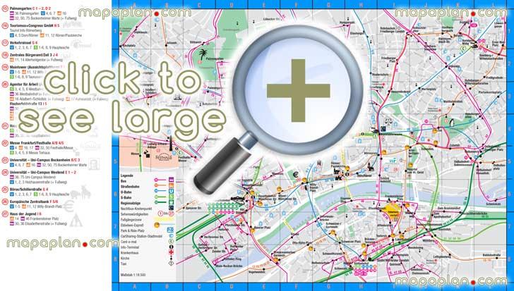 Frankfurt maps - Top tourist attractions - Free, printable city