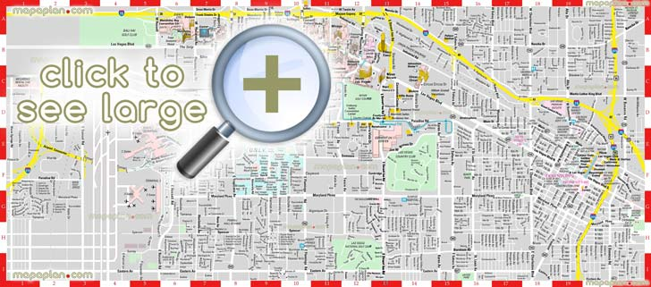 Las Vegas maps - Top tourist attractions - Free, printable city