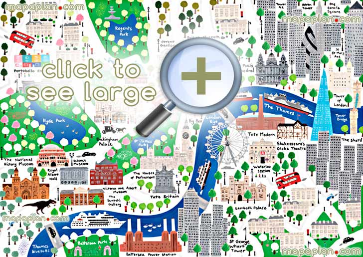 London maps - Top tourist attractions - Free, printable city street
