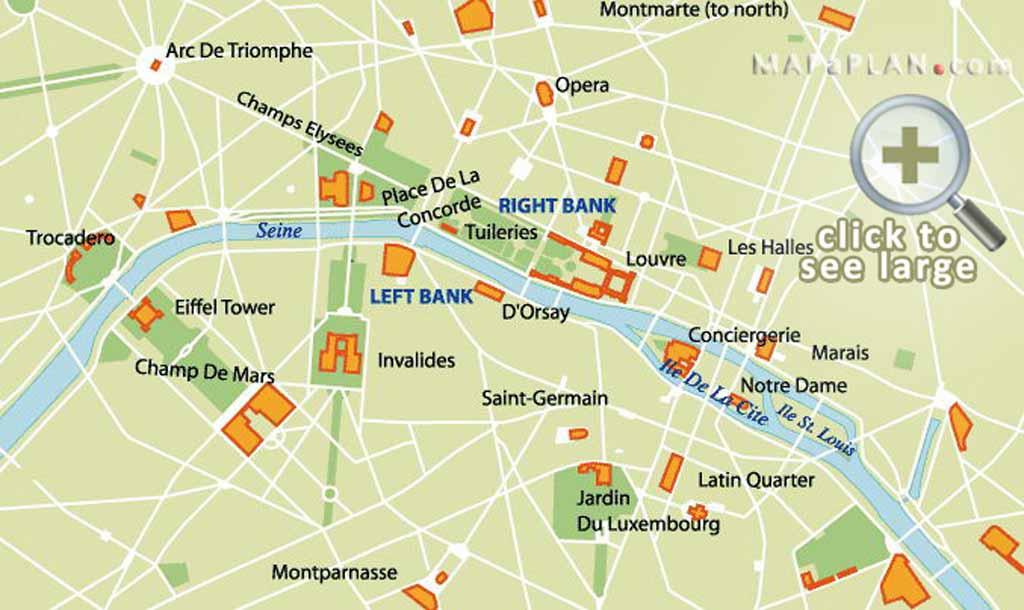 Paris maps - Top tourist attractions - Free, printable - MapaPlan