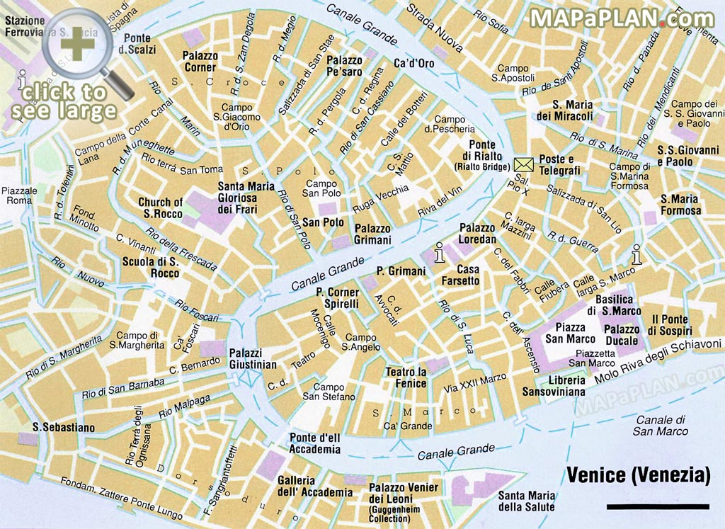 Venice maps - Top tourist attractions - Free, printable city street map