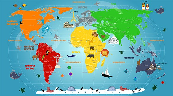 mapa mundi infantil decoração de parede