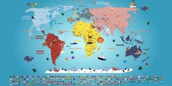 Mapa Mundi Infantil, adesivo artisticamente ilustrado e bandeiras