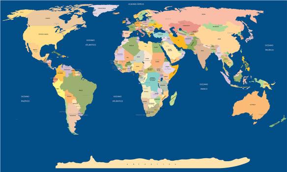Mapa Mundi com nome de todos os paises e capitais