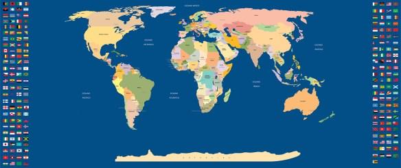 mapa mundi com paises e capitais