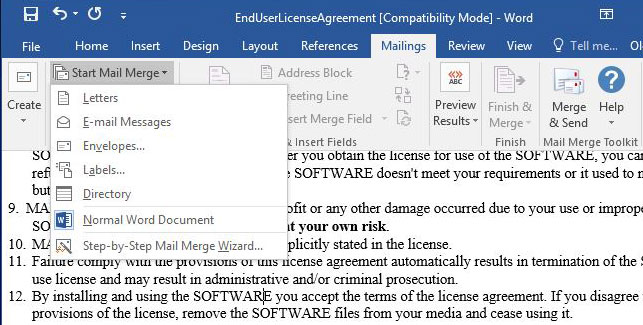Using digital signature in the documents emailed via the Microsoft