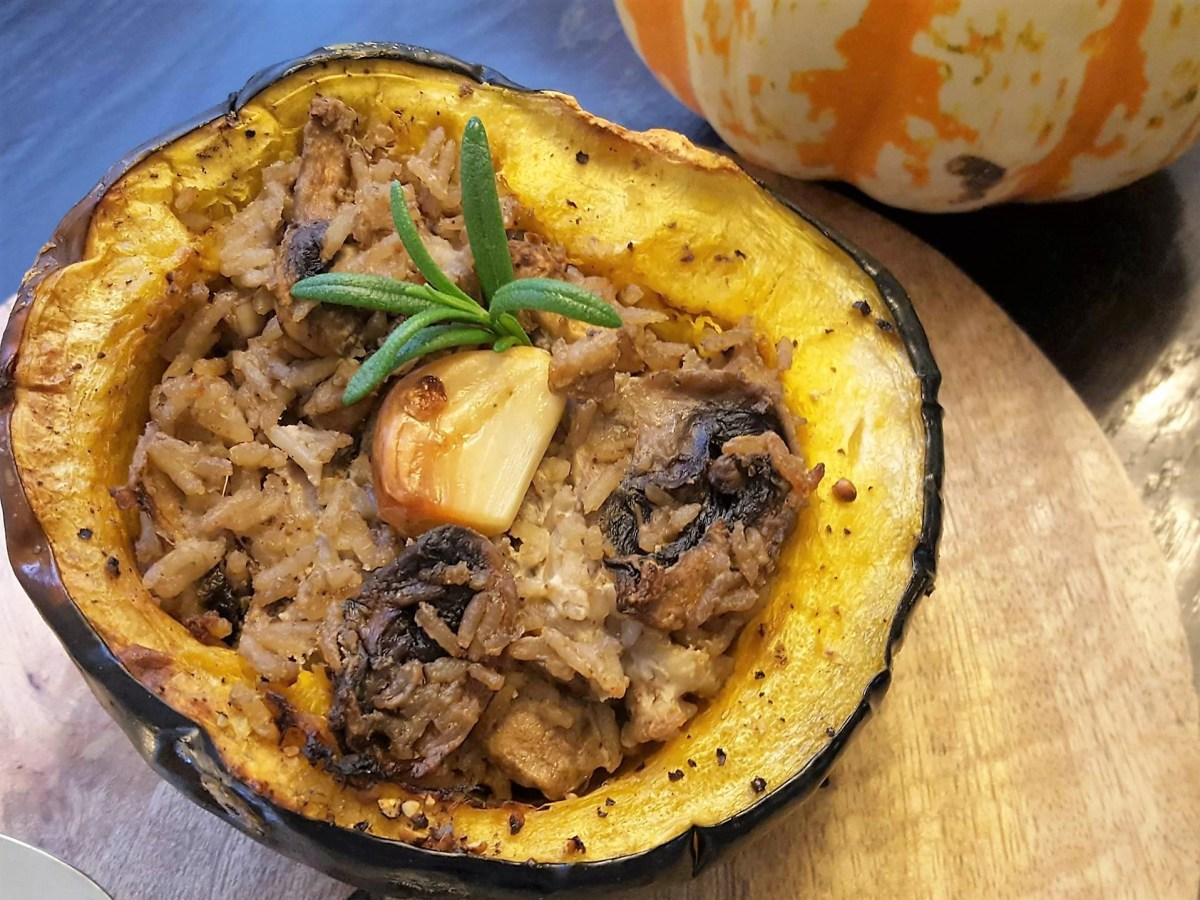 Roasted Acorn Squash With Goat Cheese, Mushrooms and Rice