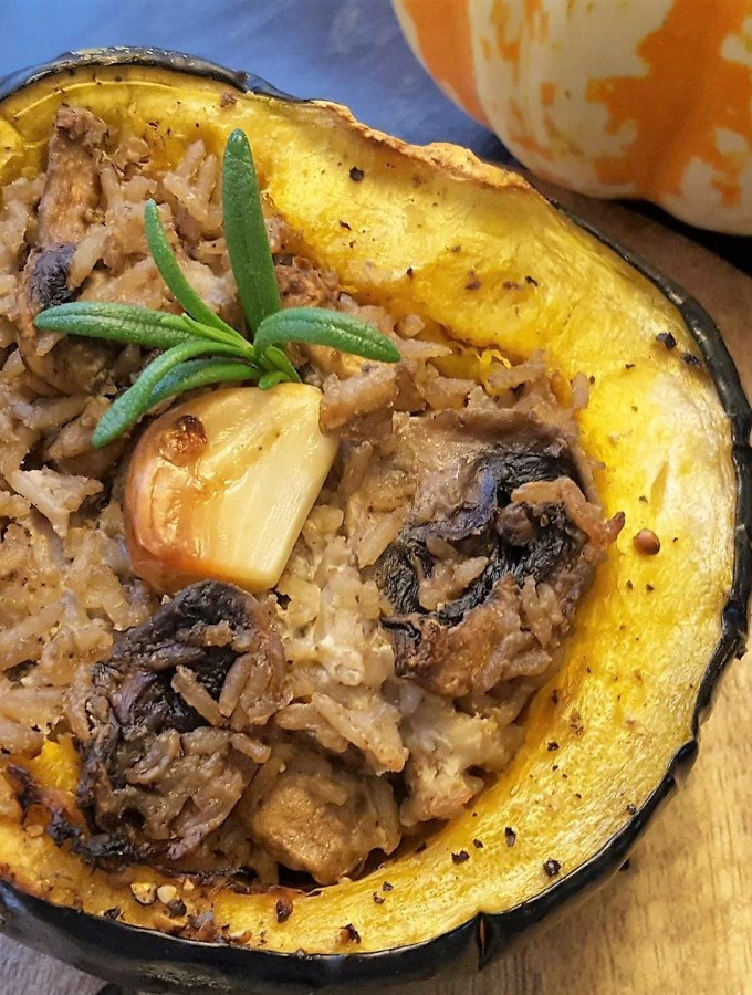 Roasted Acorn Squash Stuffed With Goat cheese, Mushrooms and Cumin-scented Rice   Vegetarian Side Dish   Vegetarian Sidedish   Thanksgiving   Fall   Maple and Marigold