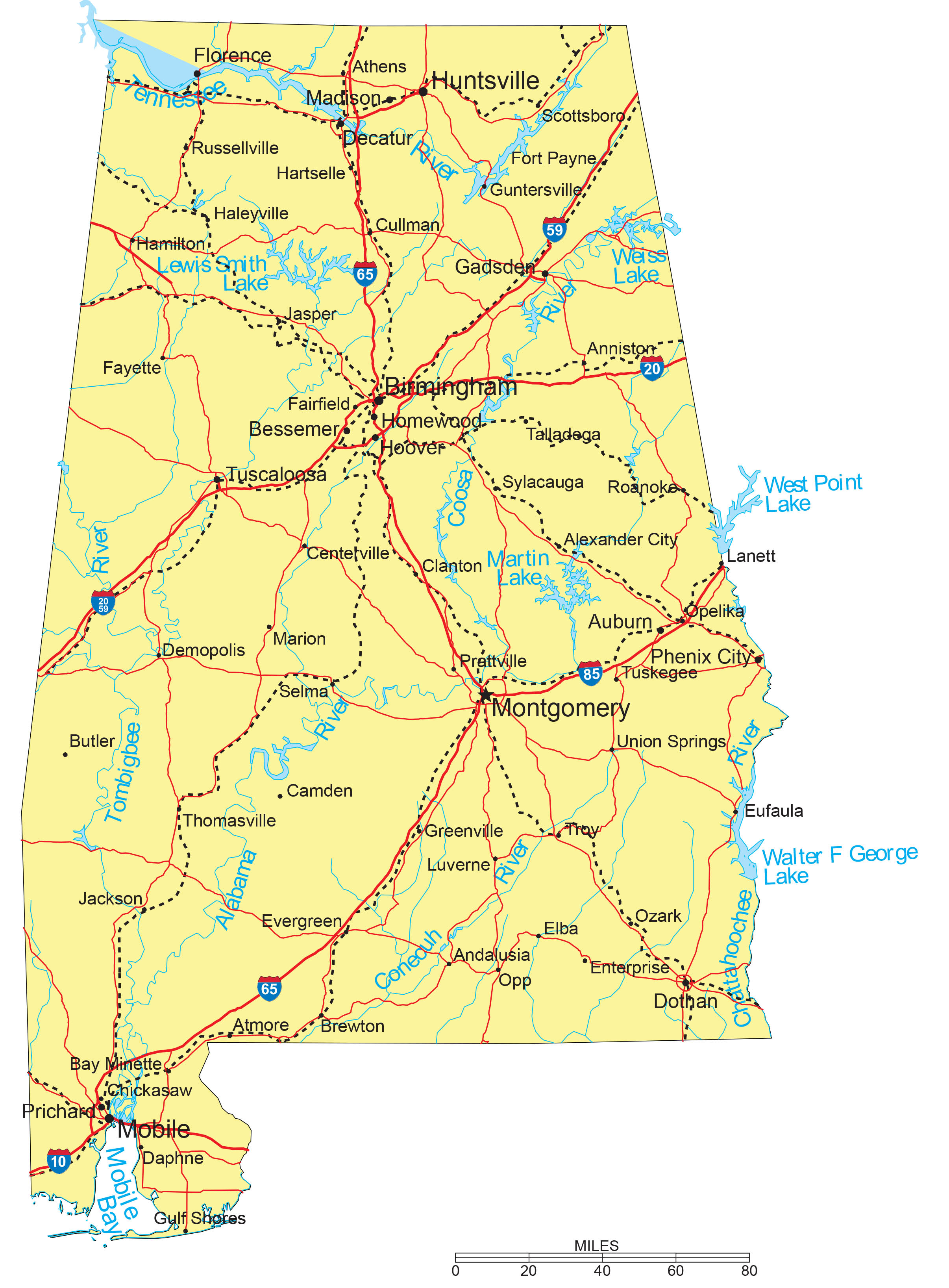 Th the largest city in california - Detailed Alabama State Map With Capitals Major Cities Interstates Roads Railroads