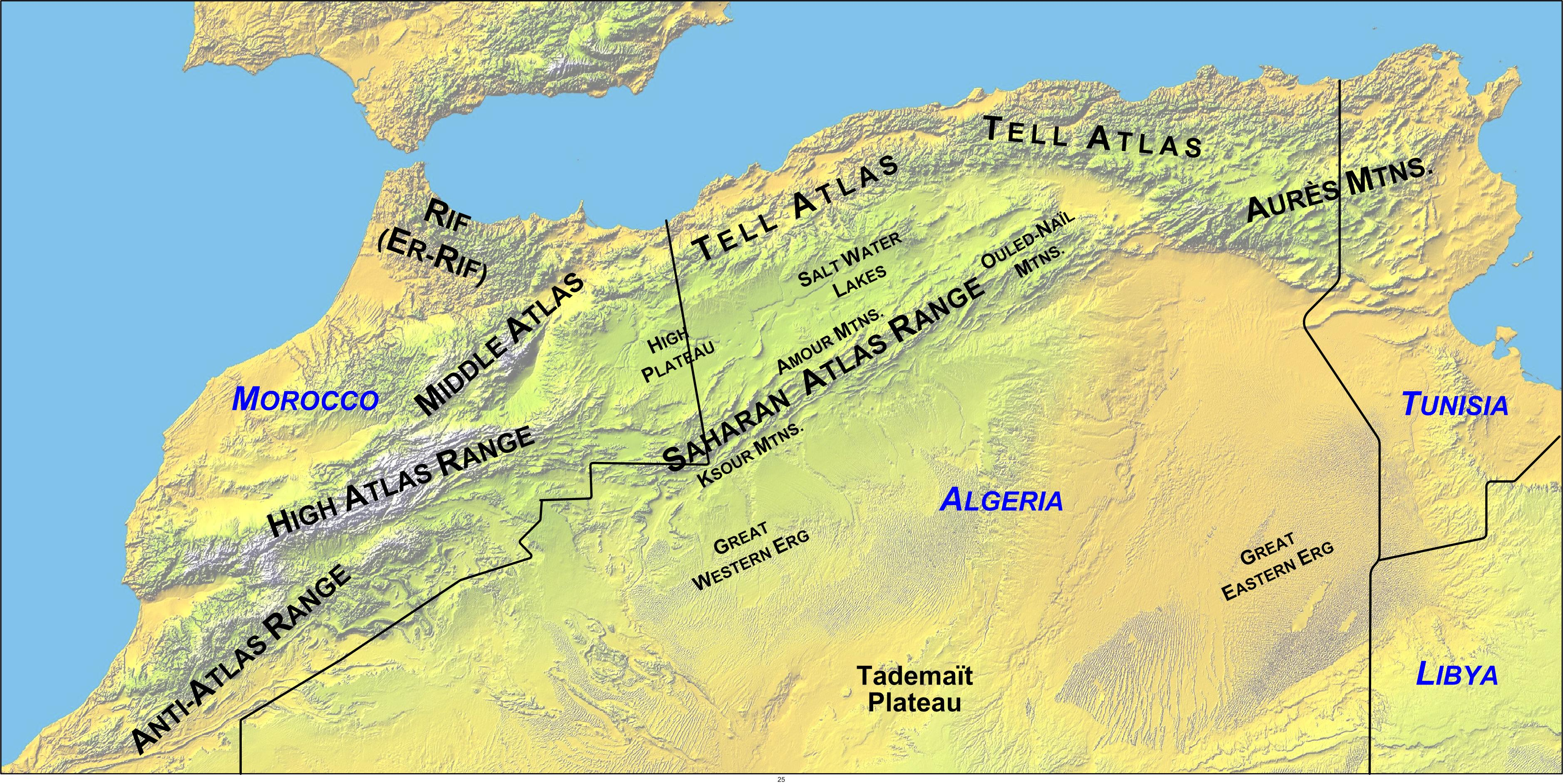 North Africa Atlas Mountains Map