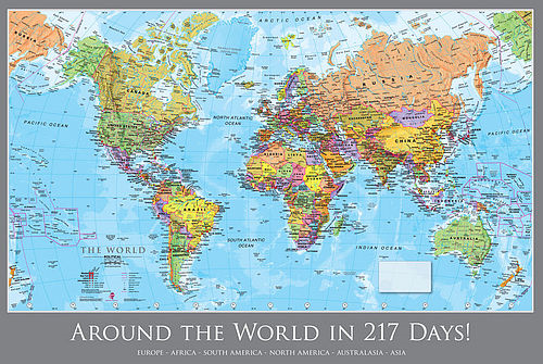 Giant Classic World Map Mural - home decor, push pin map, world map - best of world map with ecuador