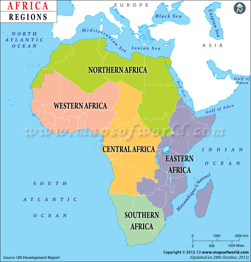 Africa Regions Map, Regions of Africa