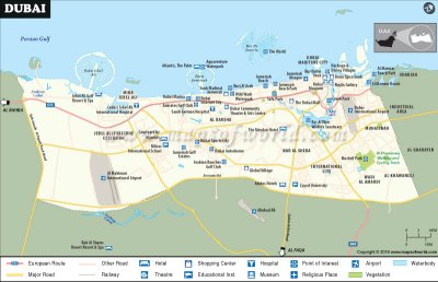 Dubai Map, Map of Dubai City