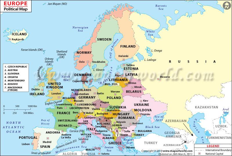 List of European Countries, European Countries Map