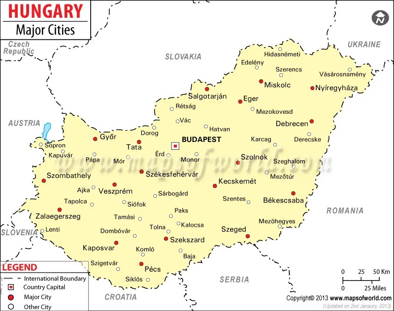 Hungary Cities Map, Major Cities of Hungary - best of world map hungary syria