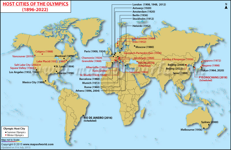 Olympic Games Host Cities, Map of Summer and Winter Olympic Host Cities - best of locate places on world map game