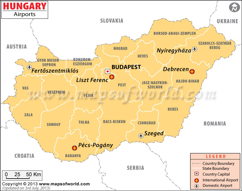 Airports in Hungary, Hungary Airports Map - best of world map hungary syria