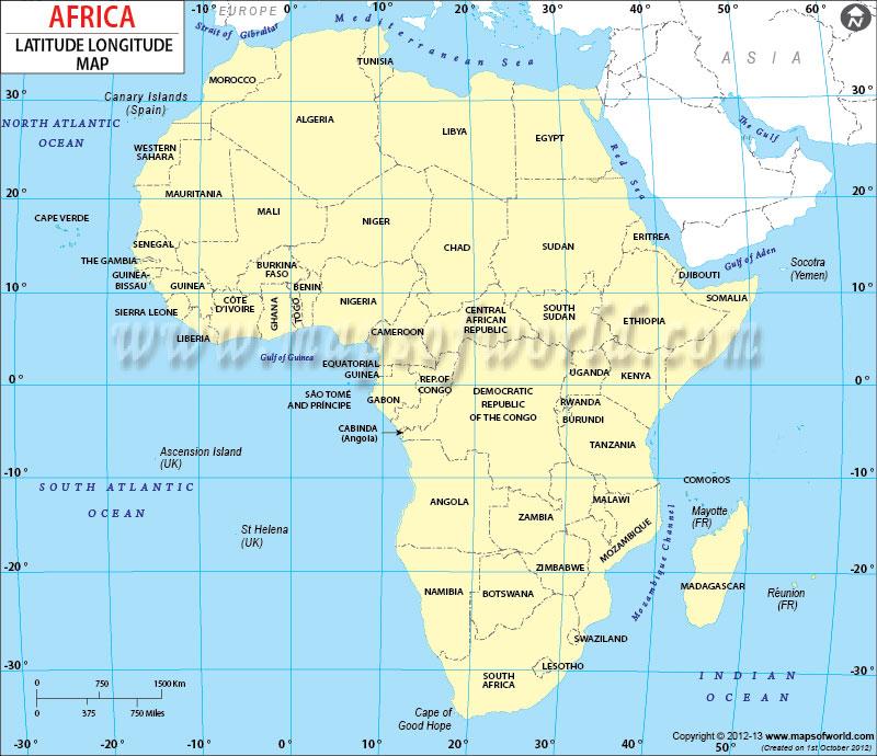 Africa Latitude and Longitude Map