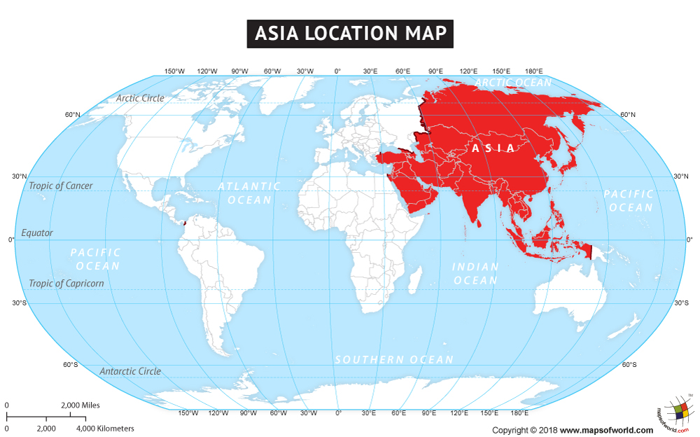 Asia Lat Long Map, Latitude and Longitude Maps of Asian Countries