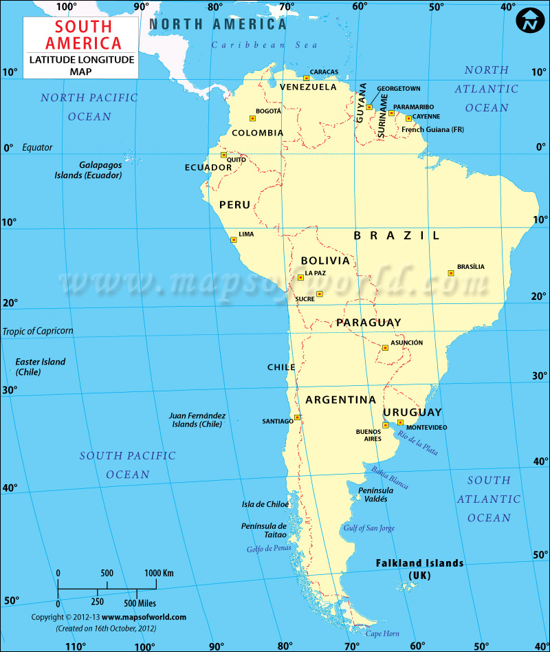 South America Latitude and Longitude