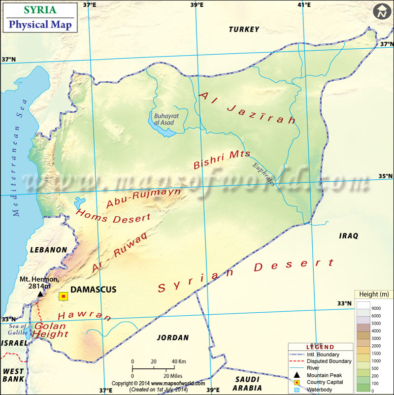 Physical Map of Syria - best of world map hungary syria