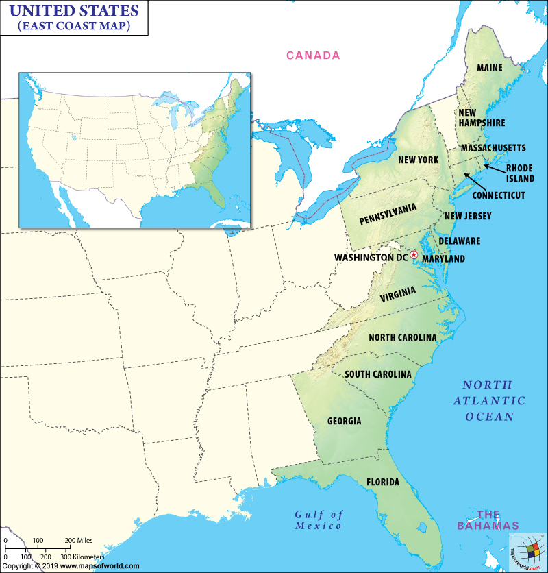 map of east coast