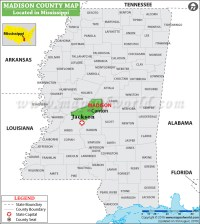 Madison County Map, Mississippi
