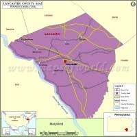 Lancaster County Map, Pennsylvania