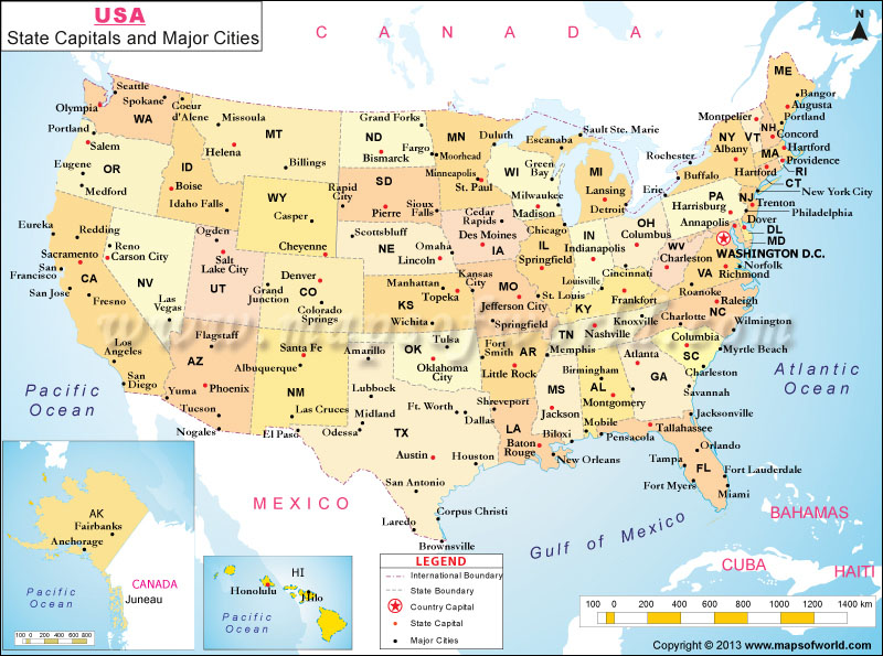 US Major Cities Map, Map showing Major Cities in the US