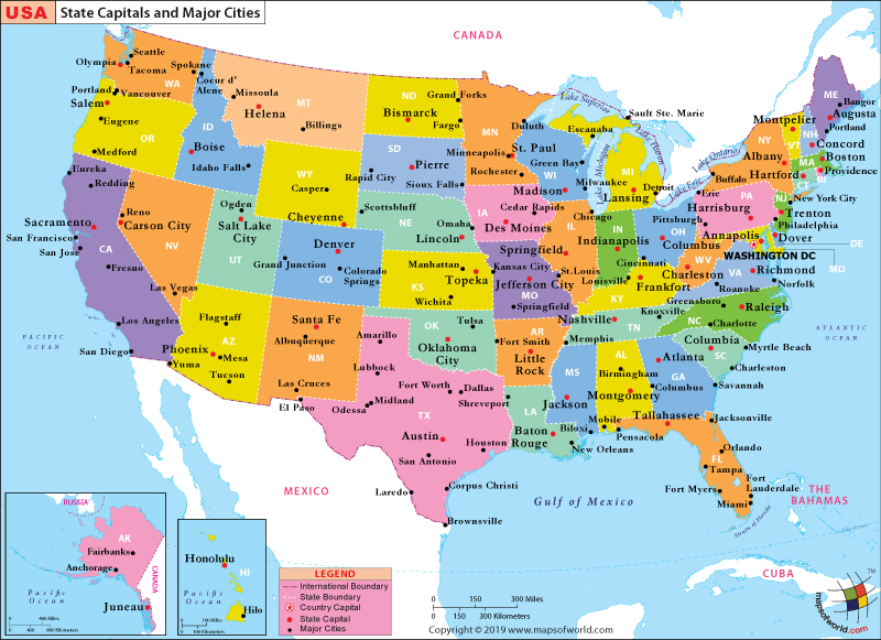 US Major Cities Map, Map showing Major Cities in the US - fillable us map